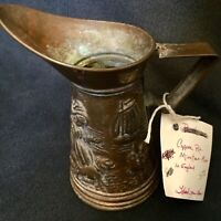 Vintage Copper Miniature Pitcher Made In England - Drinking Men Embossed