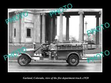 OLD 8x6 HISTORIC PHOTO OF GARLAND COLORADO THE TOWN FIRE TRUCK c1920