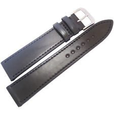 20mm Rios Springfield Black FLAT Shell Cordovan Leather German Watch Band Strap