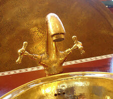 Hand engraved Moroccan brass mixer  bathroom wash basin tap