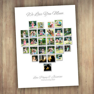 PERSONALISED HEART PHOTO COLLAGE / MONTAGE - BEAUTIFUL GIFT IDEA !