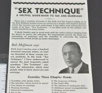 1940 Sex Technique Guide Educational Book Marriage Bob Hoffman Vintage Print Ad