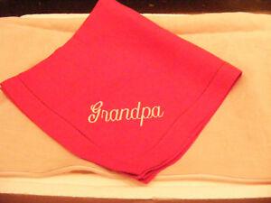 """New Sferra Red Festival 20"""" x 20"""" Linen Napkin   Grandpa Embroidery Script"""
