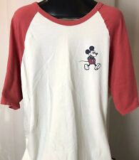 Vintage Style Disney Mickey Mouse Artwork Junk Food Raglan Men's Xl T-Shirt