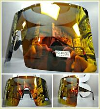 OVERSIZE EXAGGERATED SHIELD Visor Style SUN GLASSES XL Gold Frame Polarized Lens