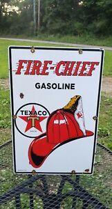 TEXACO FIRE CHIEF porcelain metal sign GASOLINE helmet enamel gas pump plate