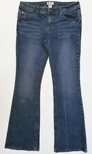 SO women's/junior's jeans blue dark wash boot-cut embroidered-pockets size 11