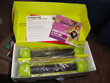 Zumba Fitness Kit 2 DVDs Flat Abs Total Body Transformation Guide Toning Sticks