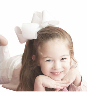 White Large Hairbow Baby Girls Hair Bows Grosgrain Ribbon With Clips 6 Inch