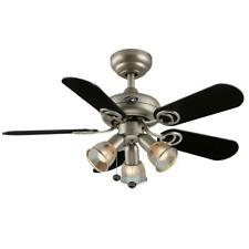 "Hampton Bay San Marino 36"" LED Indoor Brushed Steel Ceiling Fan with Light Kit"