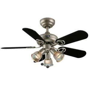 "Hampton Bay San Marino 36"" LED Indoor Brushed Steel Ceiling Fan with Light Kit"