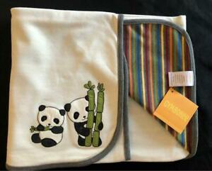 Vtg NEW Gymboree Baby Boy LITTLE PANDA Bear Blanket Bamboo Striped Reversible