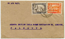 ADEN 1947 AIRMAIL to FALMOUTH 10A FRANKING to BRITISH INDIA STEAM NAVIGATION CO