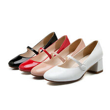 Women Hot Mary Janes Lolita Stylish Pumps Faux Leather Casual Spring Chunky Shoe