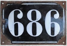 Large old black French house number 686 door gate plate plaque enamel metal sign