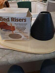 "4Pcs 5"" BED RISERS Furniture Raisers, Bed Chair Riser Wide Feet, BLACK,  USA."