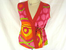 Great Sz  M 10 12 Sleeveless Colourful Cotton Top $29