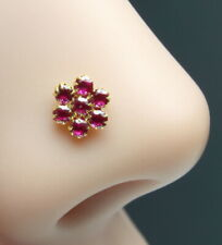 Real Gold Nose Stud Solid 14K Gold Pink CZ Piercing Push Pin Nose stud