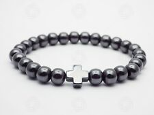 Natural Black Hematite Cross Reiki Jesus Christ Bracelet Stone Beads Gift UK
