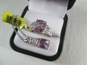 Rose De France Amethyst Ring Size 8 and Necklace set Sterling Silver