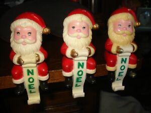 Set of 3 Vintage Santa Stocking Holder - Noel - Ceramic/Porcelain?