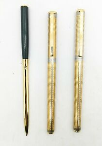 elysee damascene 70 fountain pen 14k f nib And roller pen gold plated pattern