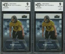 Lot of (2) 2003 Finest #61 Troy Polamalu Steelers RC Rookie BCCG 9