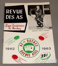 1962-63 AHL Quebec Aces  Program Skippy Burchell Cover