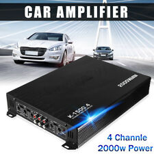 2000W 4 Channel Car Class AB Power Amplifier Active Audio Amp Bass Bridged 12V