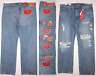 Levis Mens 569 Loose Straight Fit Warp Stretch Jeans Distressed Destroyed Blue