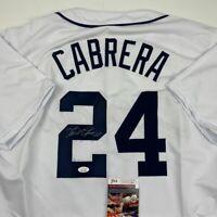 Autographed/Signed MIGUEL CABRERA Detroit White Baseball Jersey JSA COA Auto