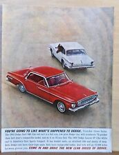 1962 magazine ad for Dodge - red Dart 440, white Lancer GT, Lean Breed of Dodge