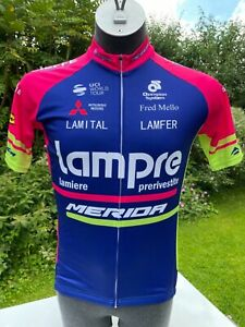 Team Lampre Merida Short sleeved Coolmax Cycling Jersey Full zip Large New + Tag