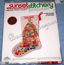 Sunset CHRISTMAS FANTASY Crewel Stitchery Stocking Kit - Chris Davenport
