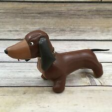 Vintage Vinyl Brown Handsome Weiner Dog Plush Animal