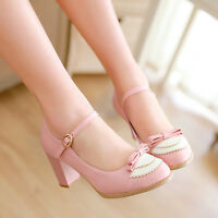 Womens Bowknot College New Court Plus Size New Mary Janes Pumps Cuban Heel Shoes