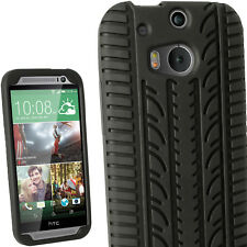 Black Tyre Silicone Gel Skin Case for HTC One M8 2014 Cover + Screen Protector