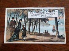 1800s Victorian Trade Card Preble Bros. Boots Shoes Fall River MA Family