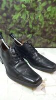 Von Morke mens smart classic genuine leather black shoes size 8uk/42EU di