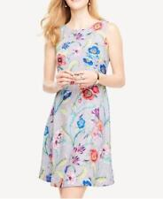 Ann Taylor Jungle Floral Flare Dress Grey Petites 2p 100 Polyester Above Knee Mini Sleeveless