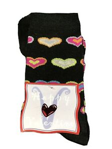 Crew Socks Black Pink Valentines Day Heart Theme Shoe SZ 9-11 New Acrylic Blend