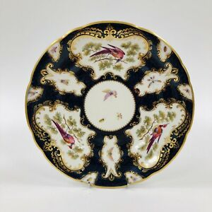Grainger & Co Worcester China - Painted Cobalt Blue Scale Gilded Plate c.1870