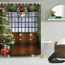 Christmas Boots Waterproof Bath Polyester Shower Curtain Liner Water Resistant