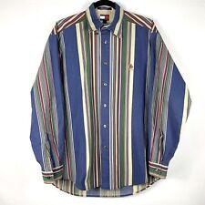 Vintage Tommy Hilfiger Vertical Stripe Long Sleeve Crest Shirt Mens Sz Medium