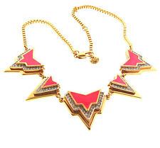 Juicy Couture Pink Enamel Crystal Necklace Gold Tone