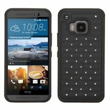 For HTC One M9 Black Hard Silicone Hybrid Rubberized Case Cover w/Diamond