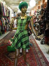 Latz-Kleid XS-S 70er wie 90er knallgrün TRUE VINTAGE 70s MOD Tartan mini dress