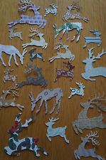Mixed Lot 50 Christmas Reindeer Cut Outs. Various Colours/Patterns.
