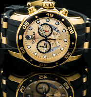 Invicta 48mm Men's Pro Diver Scuba Chronograph 18K Gold Plated IP SS PU Watch !
