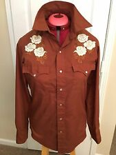 Vintage Western Cowboy Shirt Small Montgomery Ward Floral Pearl Snap Buttons